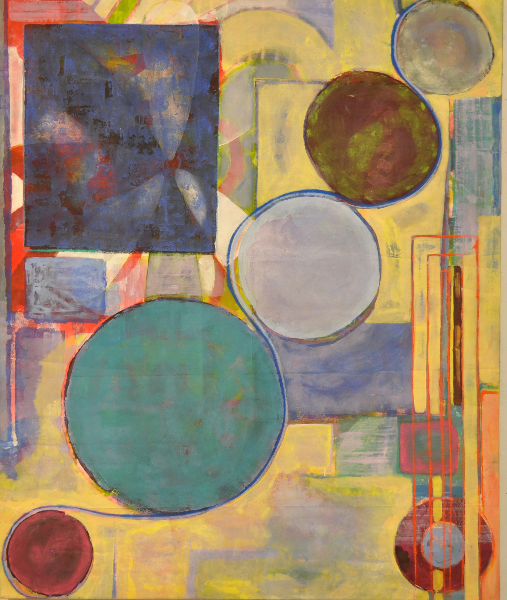 Threaded  Acrylic on canvas  150 x 127 cm
