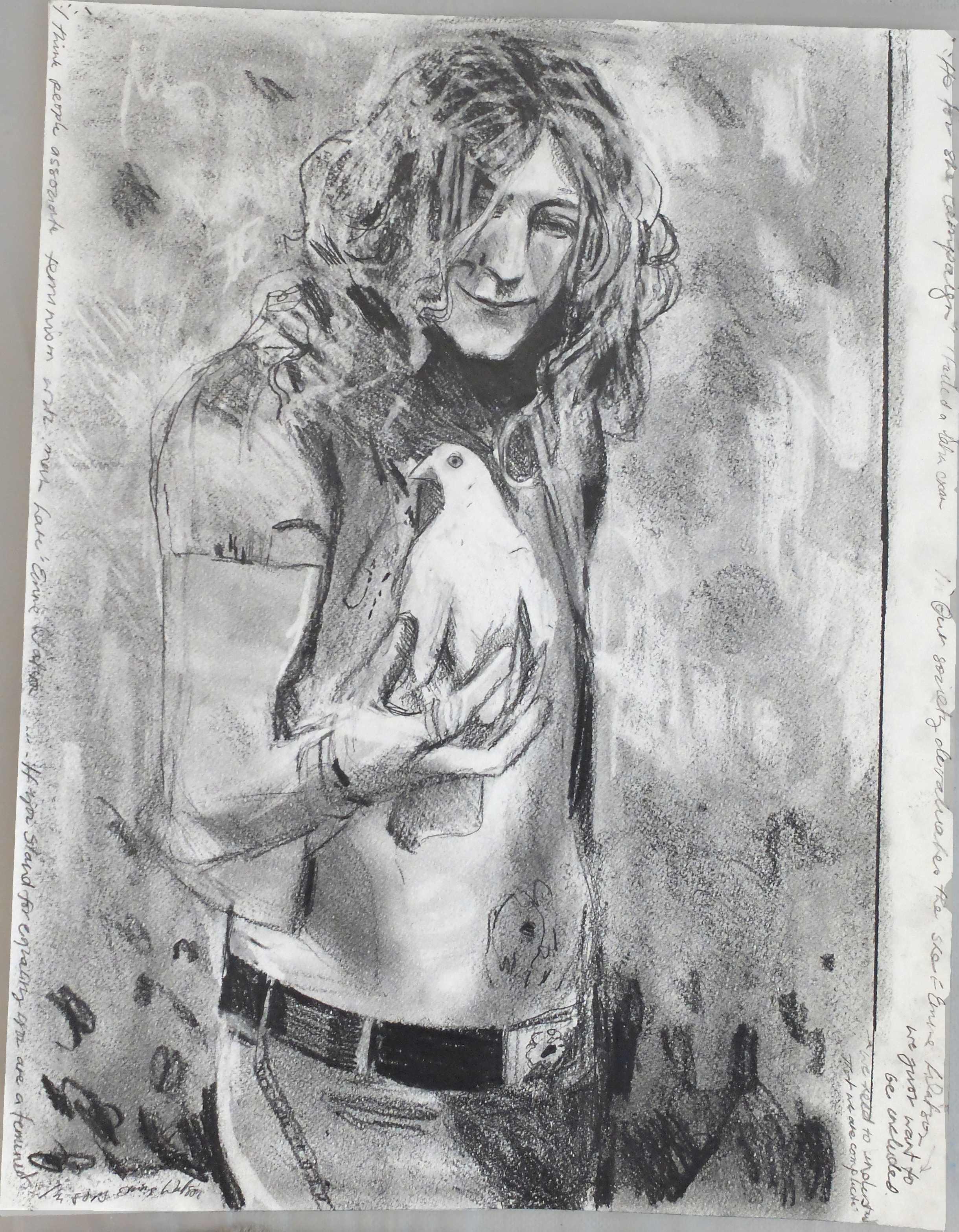 Dove two  Pencil on paper  50 x 60 cm