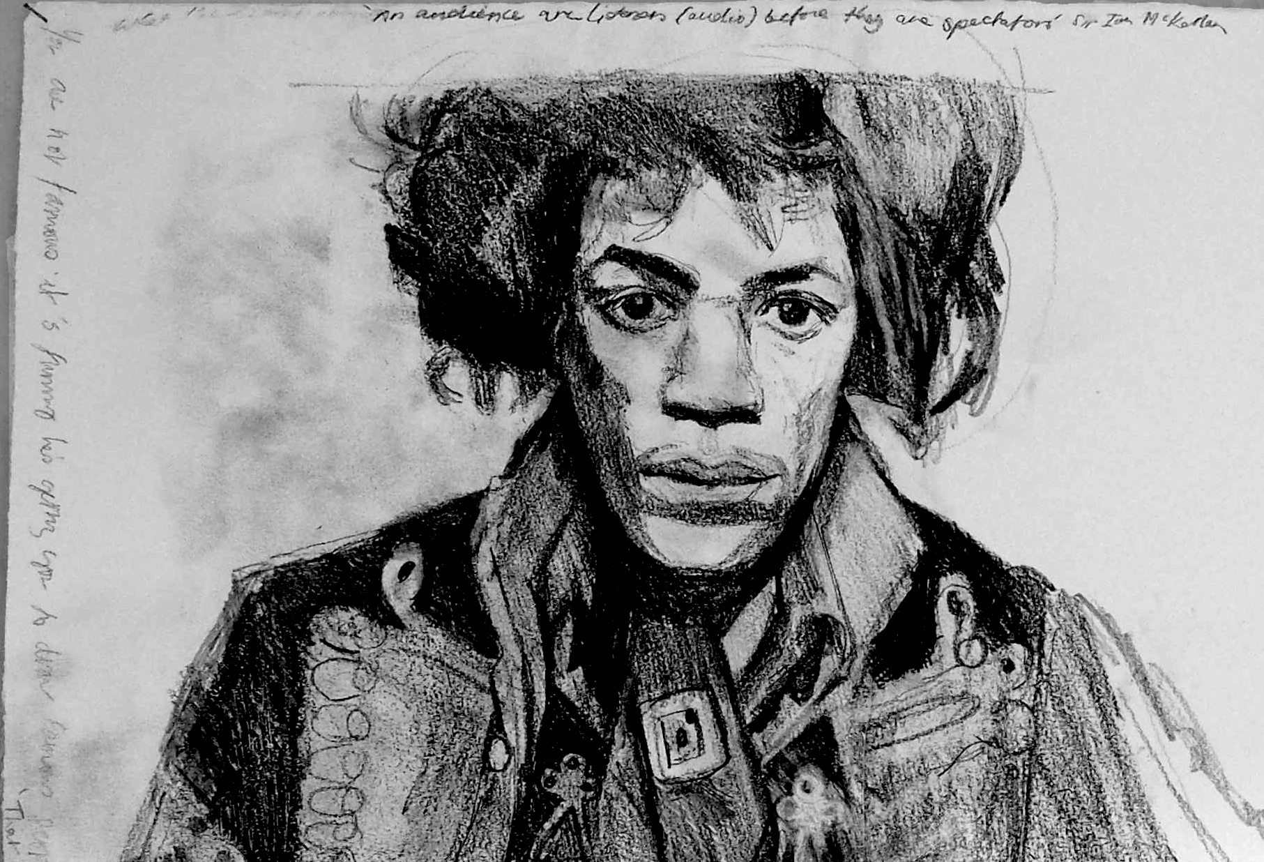 Jimi scarf  Pencil on paper 76 x 57 cm