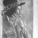 Jimi smoke  Pencil on paper  50 x 60 cm
