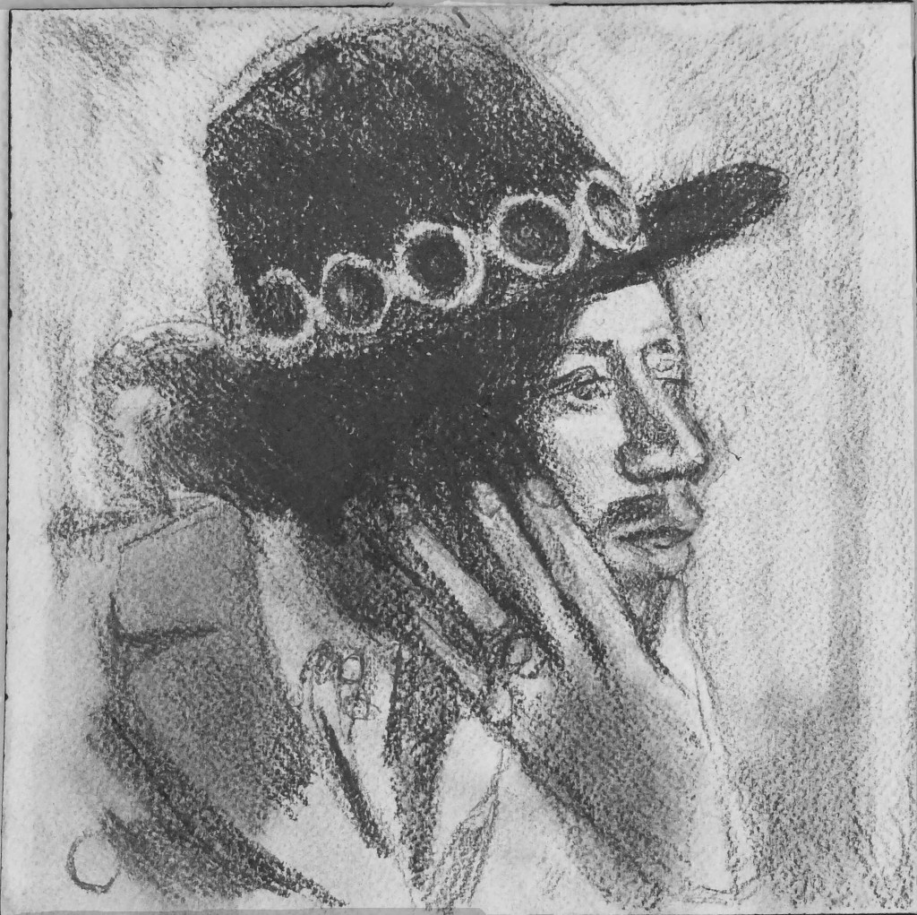 Jimi with hat Pencil on paper  20 x 20 cm