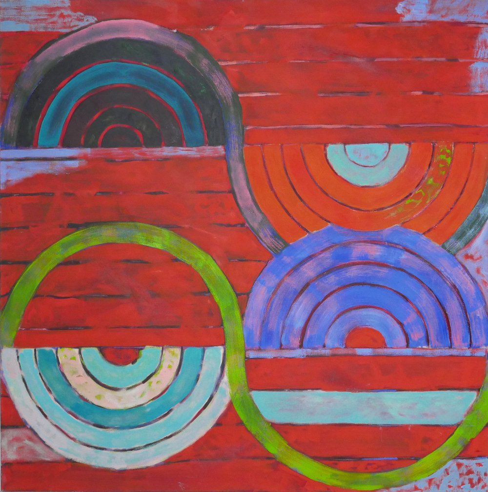 Phoebe Dingwall painting red and green