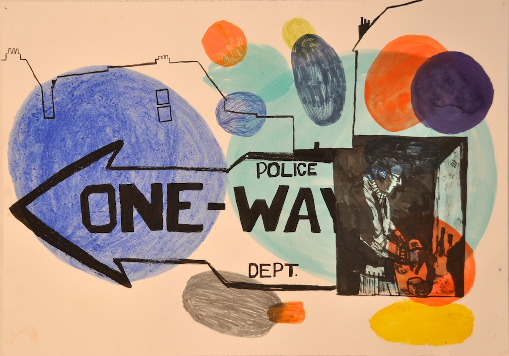 One-way Watercolor and ink on paper 70 x 100 cm