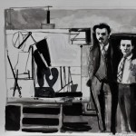Gorky and de Kooning  Ink on paper  32 x 41 cm