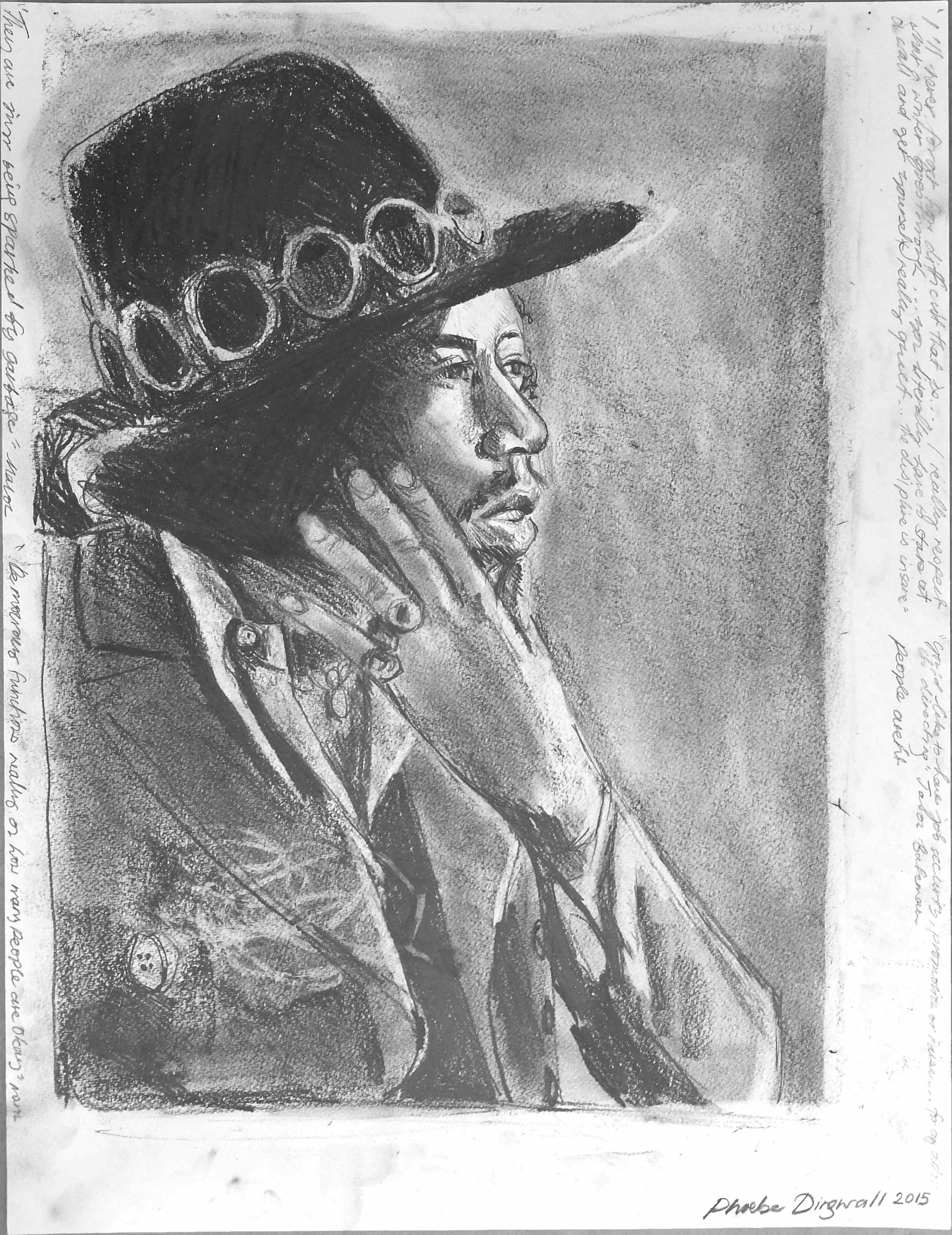 Jimi smoke  Pencil on paper  50 x 60 cm