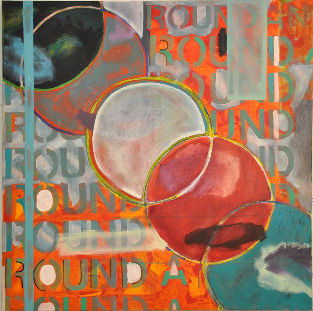 Round and round Oil on canvas 100 x 100 cm